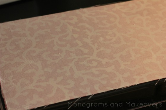 Monogram Lucite Tray Mod Podge Fabric